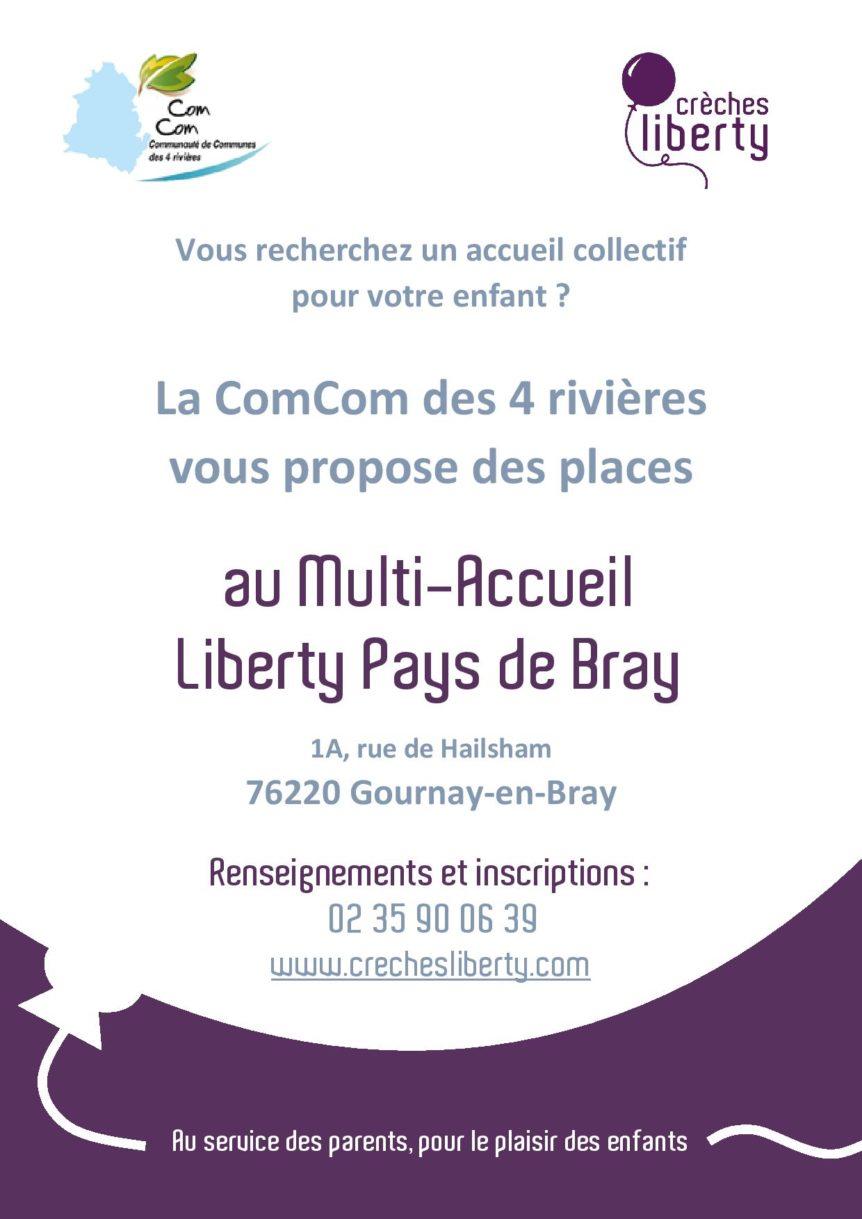 La communauté de communes des 4 rivières vous propose des places au multi-accueil Liberty Pays de Bray.